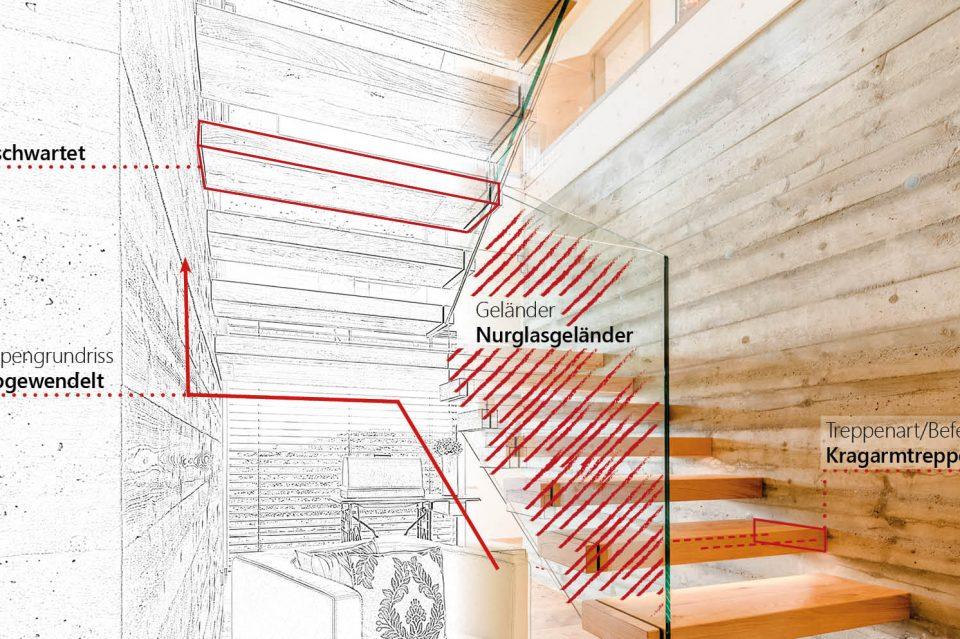 verschiedene Elemente von Treppen skizziert