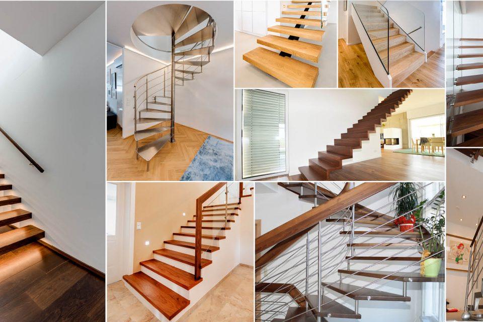 Treppenarten in verschiedenen Grundrissen